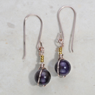 Purple Amethyst gemstone earrings, rose gold silver plated, 24k accents, dainty