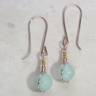 Pretty Green Amazonite earrings, dainty dangle, Rose gold plated,24k gold accent