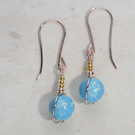 Beautiful, small turquoise gemstone earrings, dainty Jasper, Rosegold, 24kplated