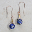 Pretty Blue gemstone earrings, Lapis Lazuli, dainty, rose gold plate, 24k gold