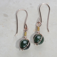 Green Agate gemstone earrings. Dainty, green, in Rose gold plated, & 24k gold