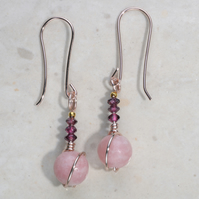 Pretty Pink Opal, red Garnet, gemstone earrings. Rose gold, 24k gold accents,