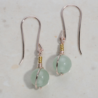 Green Aventurine gold earrings, rose gold plated, 24k gold accent. Pendant drop