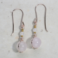 Moonstone blush pink earrings, Rose quartz rose gold plated 24k accents. Wedding
