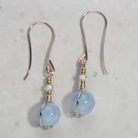 Blue Aquamarine Labradorite dangle earrings rose gold plate 24k part. Wedding