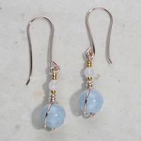 Blue gemstone Aquamarine moonstone earrings rose gold plate 24k part dangle uk