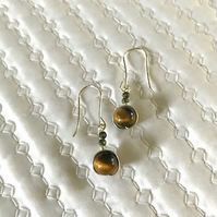 Beautiful Tigers Eye, dangle silver earrings, & Pyrite. Dangle gemstone earrings