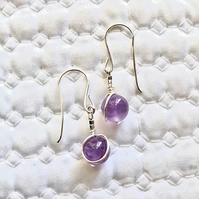 Purple lilac amethyst earrings, silver plated, 925 Sterling accents. Gift