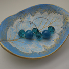 Trinket dish -  leaf imprint oval shaped jewellery dish
