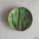 Trinket dish - Green jewellery dish with wild flower imprints