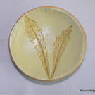 Trinket dish - Yellow jewellery dish with wild spiky leaves imprint