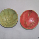 Trinket dishes - pair of small round leaf imprints jewellery dishes