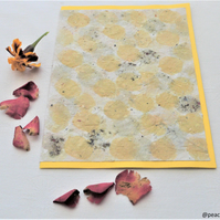 Marigold and rose flower pigments card - Handmade paper card
