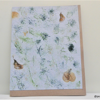 Handmade paper card - Card with pressed flowers