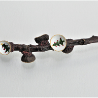Natural oak tree twig with acorn caps - Christmas tree painted acorn caps