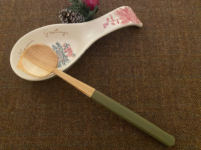 Cherry Wood Cooking Spoon- with Green Handle.