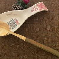 Cherry Wood Cooking Spoon- with Green on Red Handle.