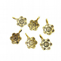 Flower Charms with Loop, Gold Colour, 10 x 15mm, Pack of 6