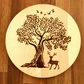 Hand burnt woodland scene circular wooden chopping or serving board