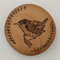 Personalised Wren pyrography wooden pebble gift