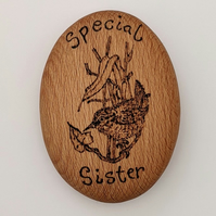 Personalisable Special Sister little wren pyrography wooden pebble ornament gift