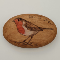Personalisable hand burnt robin giant wooden pebble gift