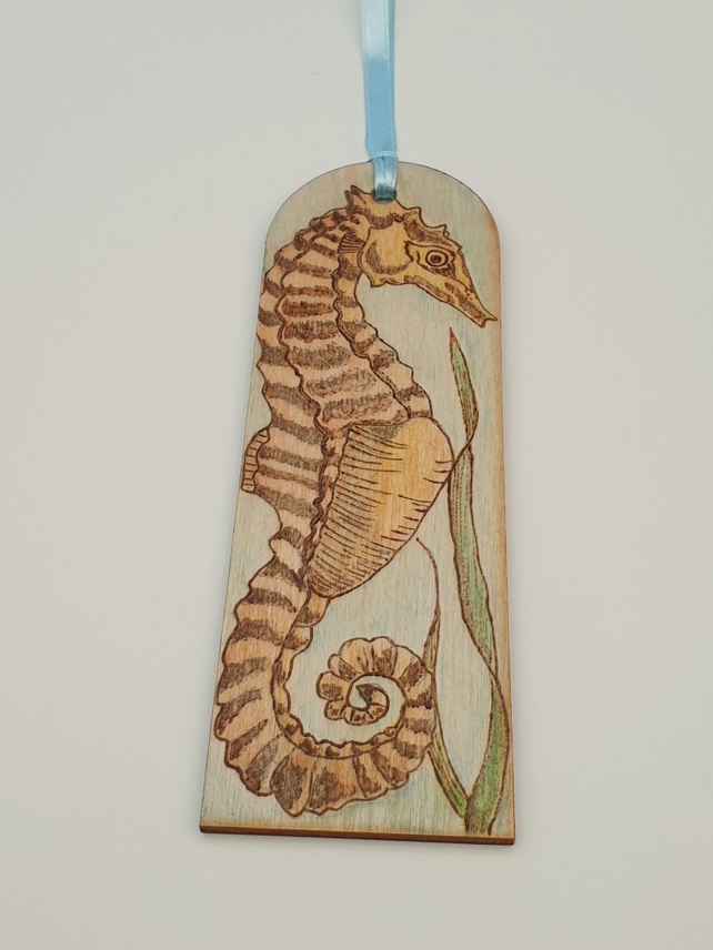 Seahorse wooden bookmark hand decorated using pyrography and watercolour