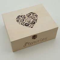 Wooden keepsake memory box decorated with pyrography heart