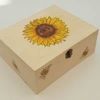 Wooden decorative keepsake box with sunflower and bees design