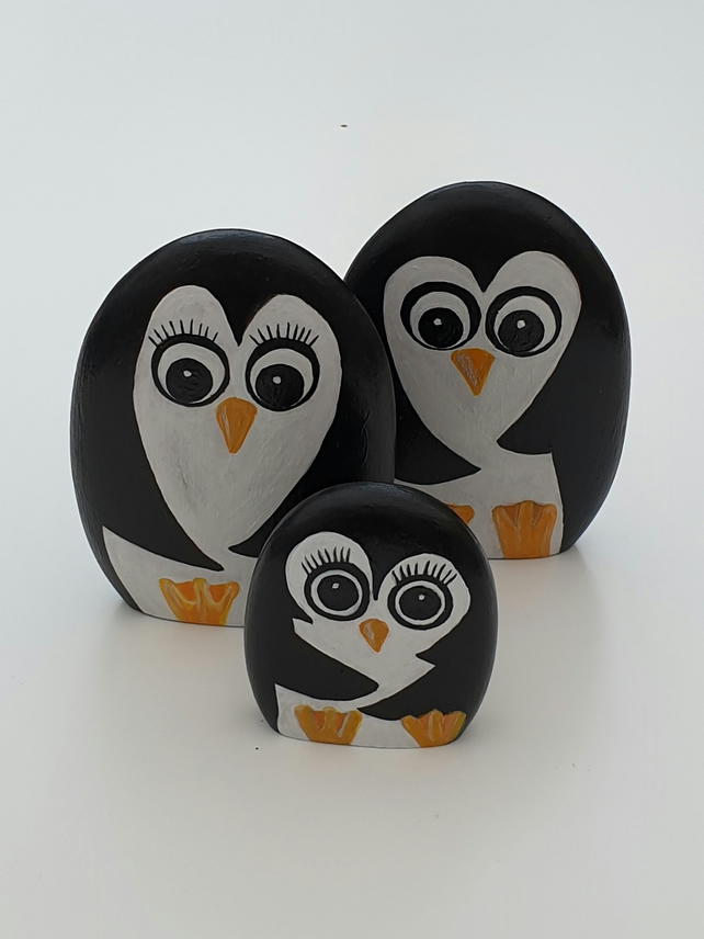 Penguin family hand painted wooden ornaments