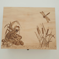 Wooden keepsake box with frog and dragonflies design