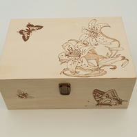 Wooden keepsake storage box with pyrography lillies, butterflies and bees design