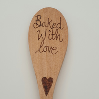 Baked with love by Mum woodburned baking spoon