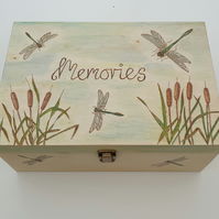Wooden memory box with pyrography dragonfly design