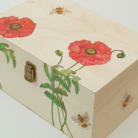 Wooden storage box with pyrography poppies and bees design