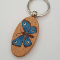 Pretty blue butterfly pyrography wooden keyring