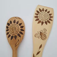 Wood burned spoon and spatula set with sunflower and bumble bee design