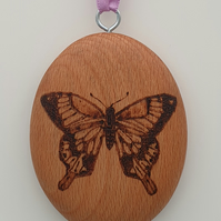 butterfly pyrography double sided hanging ornament