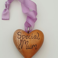 Special mum and butterfly double-sided wood burned wooden hanging heart