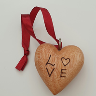 wood burned solid wooden love heart with hanging loop