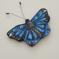 Pretty blue butterfly hand painted fridge magnet
