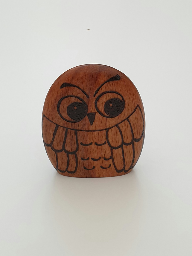 Woodburned Ollie the wooden owl