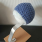 Crochet boys beanie with peak front in denim blue 0-3 months with contrast peak