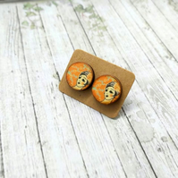 Decoupage wooden studs earrings
