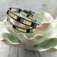 Gray Beaded Leather Wrapped Bracelet