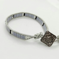 Silver Wrapped Leather Bracelet
