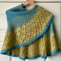 Handknit lace shawl turquoise and gold