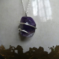 Sterling silver wire-wrapped amethyst pendant