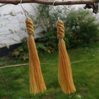 Braided recycled cotton and sterling silver tassel earrings