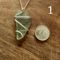 Sea glass and sterling silver wire-wrapped pendant